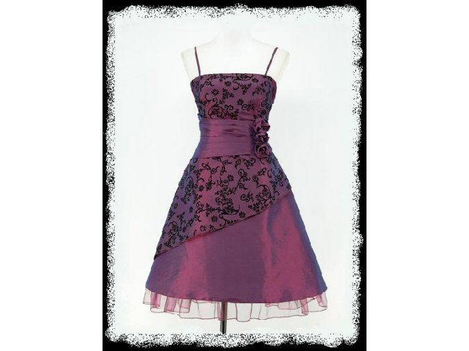 Fialové krátké retro společenské šaty do áčka po kolena pDR0255