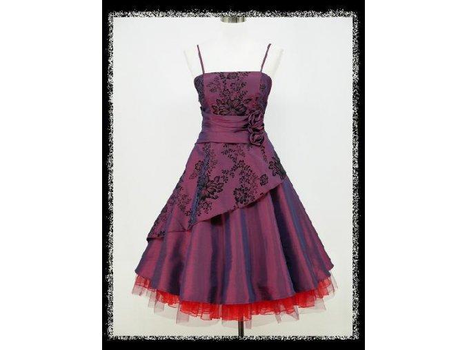 Fialové krátké společenské šaty s kolovou sukní na tancování retro šaty DR0631d