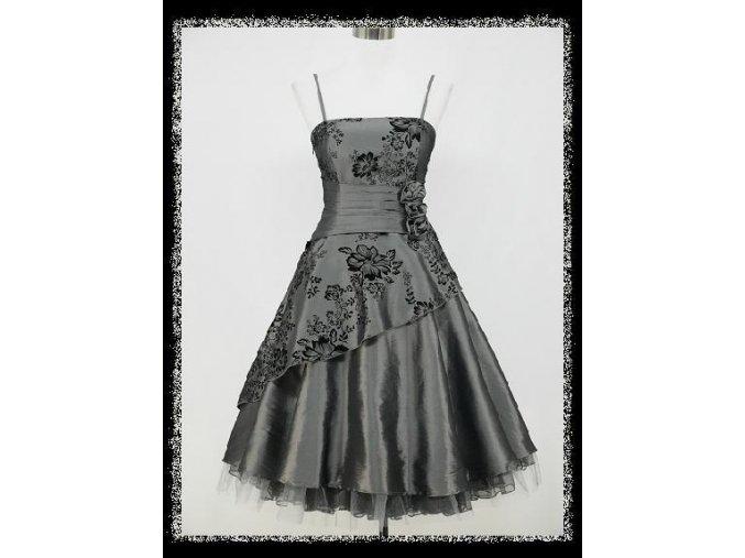 Šedé stříbrné retro taneční krátké plesové šaty po kolena DR0722