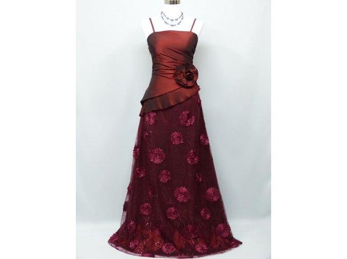 Červené bordó dlouhé společenské šaty s krajkou na ples C3019a