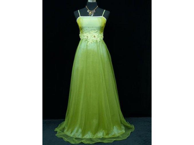 Zelené dlouhé společenské šaty s krajkou na ples C3091a