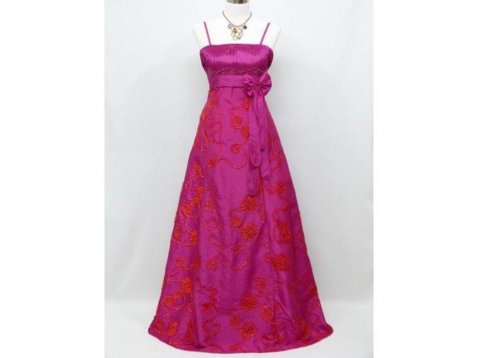 Růžové dlouhé společenské šaty s vyšívanou sukní na svatbu na ples C3096a