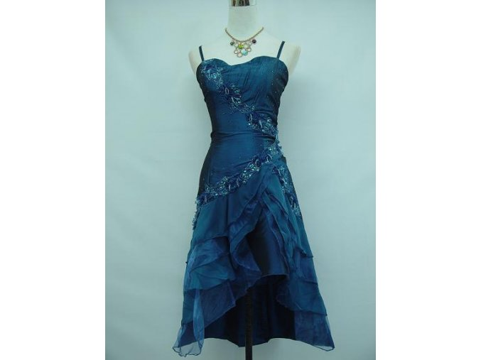 Modré krátké společenské šaty pro plnoštíhlé do tanečních A7513a