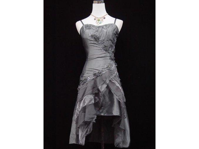 Šedé stříbrné krátké taneční společenské šaty po kolena na ples A7590a