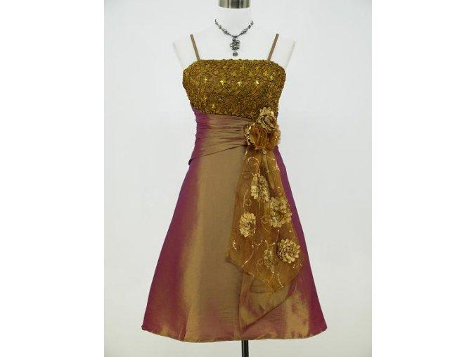 Zlaté koktejlky společenské šaty po kolena na ples B8065a
