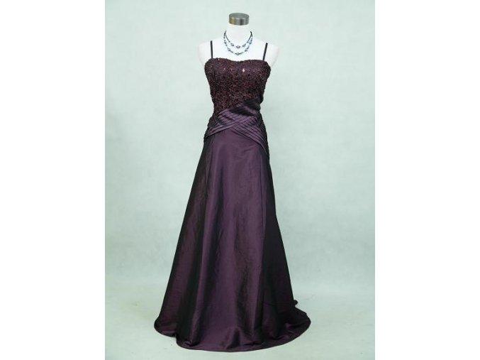 Fialové dlouhé společenské šaty křížené sklady s flitry na ples svatbu