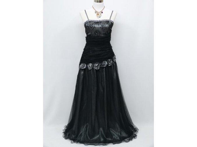 Černé dlouhé společenské šaty na ples se šedými doplňky na svatbu C4021a