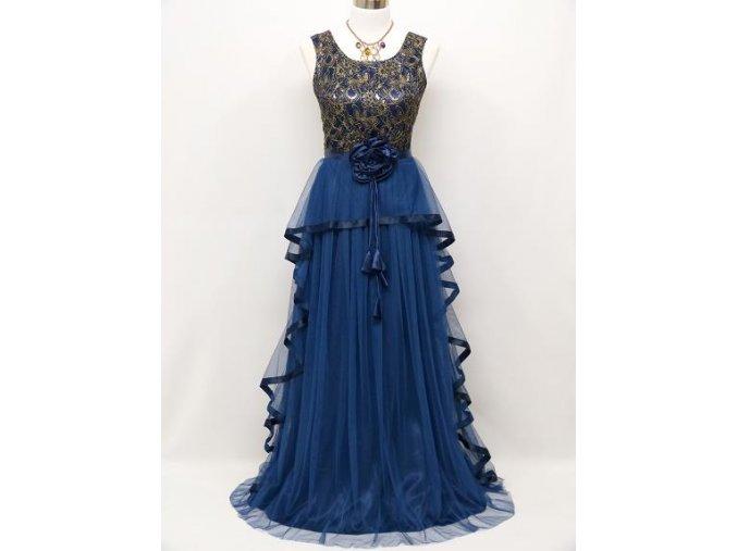 Modré společenské šaty se zlatou krajkou volánovou sukní na ples na svatbu C4001a