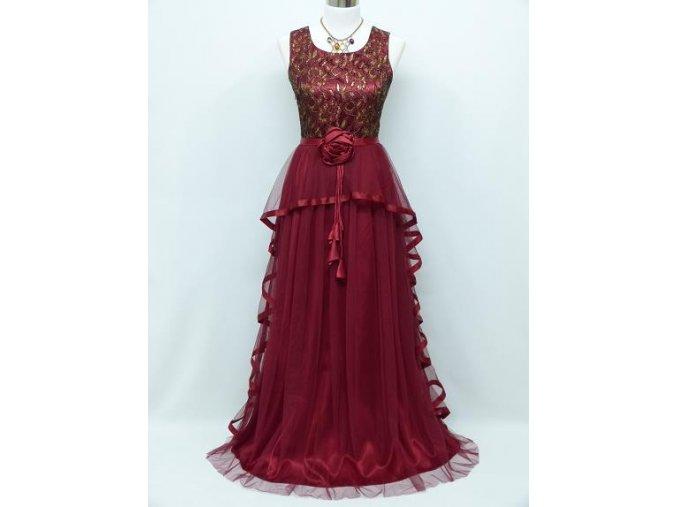 Bordó červené společenské šaty se zlatou krajkou a vlánem na ples C3996a