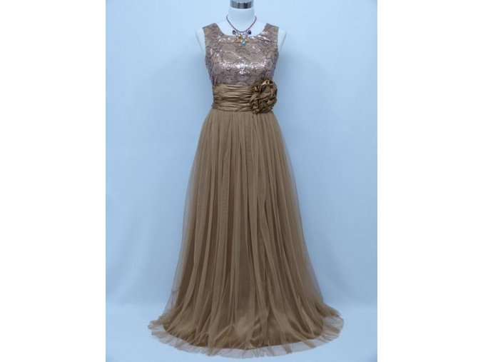 Zlaté hnědé levné společenské šaty s krajkou na ples C4061a