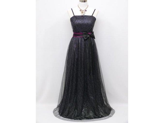 Černé blýskvé levné společenské šaty s fialovou stuhou na ples pro dámu C3956a