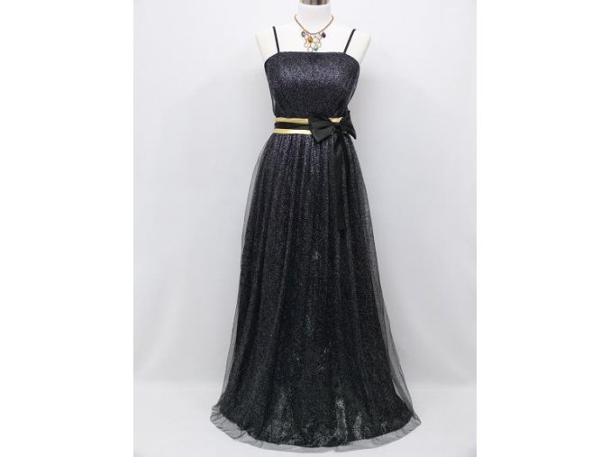 Černé blýskavé levné společenské šaty se žlutou zlatou stuhou na ples pro dámu C3946a