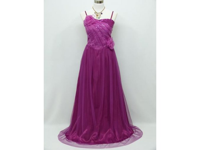 Fialové růžové dlouhé společenské šaty se sklady na ples C3976a