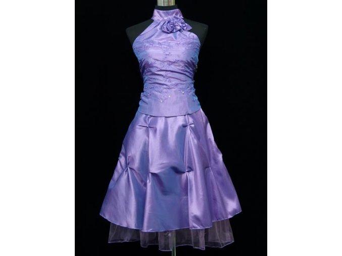 Lila lesklé krátké společenské šaty za krk na ples do tanečních C4290a