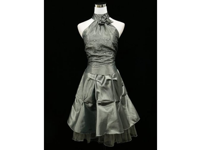 Šedé stříbrné krátké společenské šaty za krk na ples do tanečních B2476a