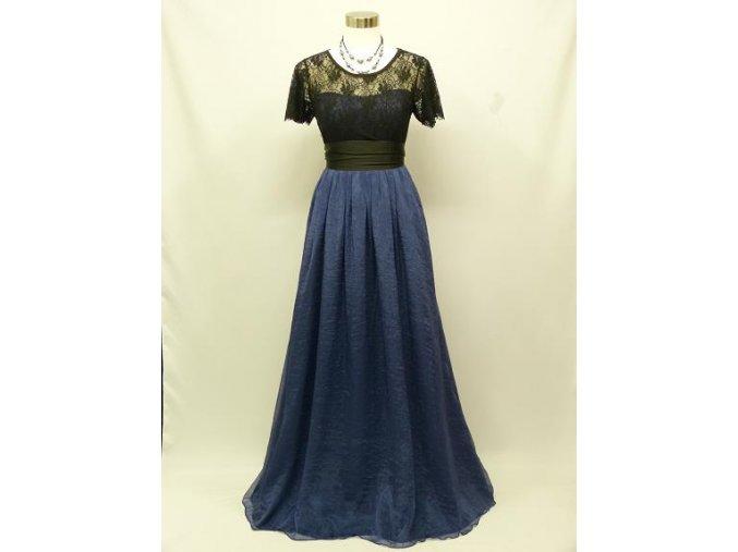 Černé modré společenské šaty s krajkovým topem 1