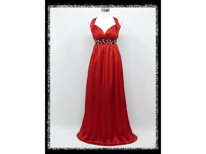 Červené dlouhé plesové šaty za krk s kamínky pod prsy i pro těhotné DR1405