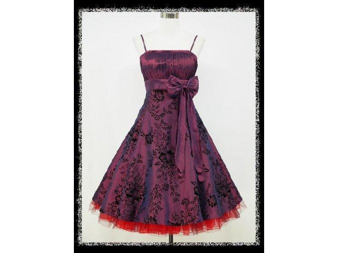Fialové krátké společenské retro šaty pro plnoštíhlé DR0677c