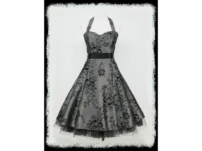 Šedé stříbrné černé krátké společenské šaty za krk na ples DR0061