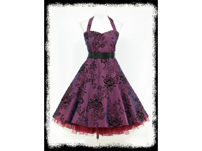 Fialové černé krátké společenské šaty za krk na ples do tanečních DR0055