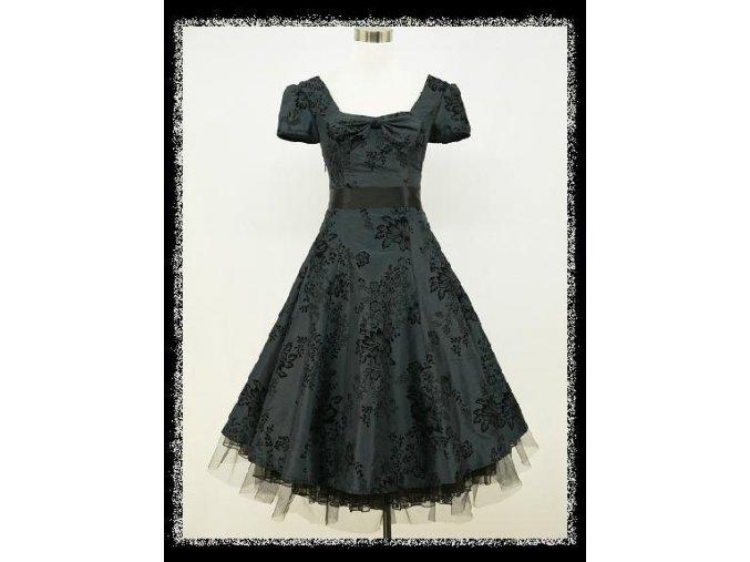 Tmavě šedé krátké společenské šaty s rukávkem na ples DR0716