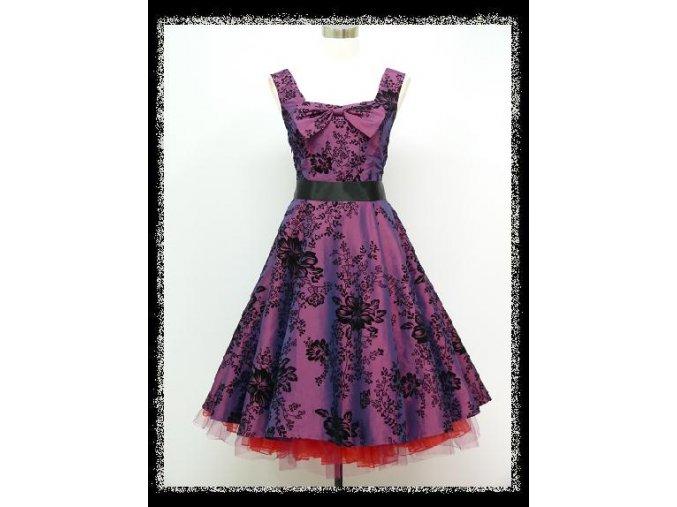 Fialové krátké společenské šaty s černým potiskem na široká ramínka na ples DR1151