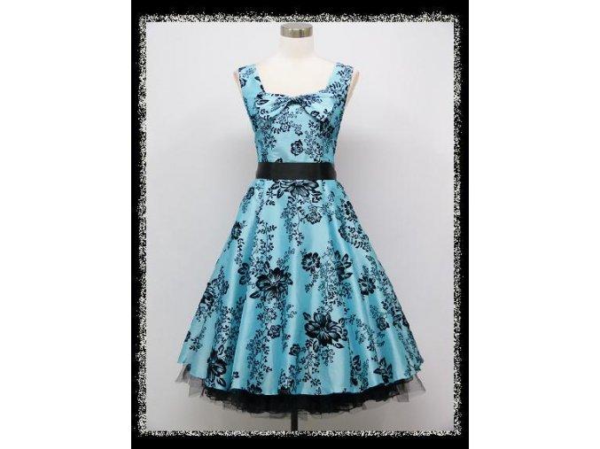 Modré světlé krátké společenské retro šaty po kolena na ples DR1145