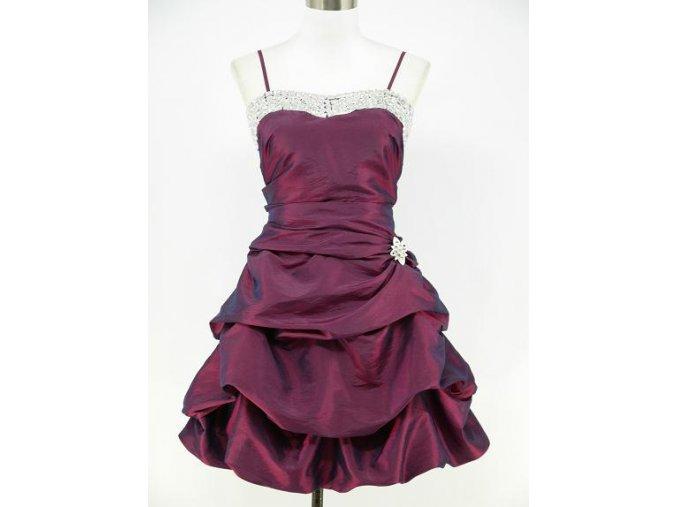 Fialové krátké společenské šaty na ples s nabíranou sukní DR0246a