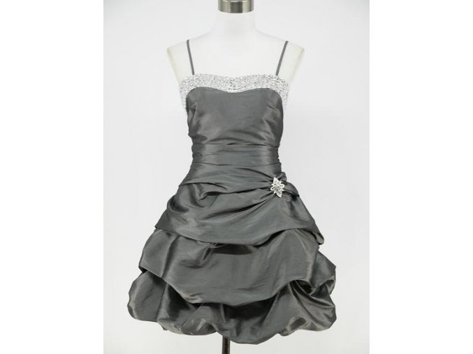 Šedé stříbrné krátké společenské šaty s nabíranou sukní DR0249a