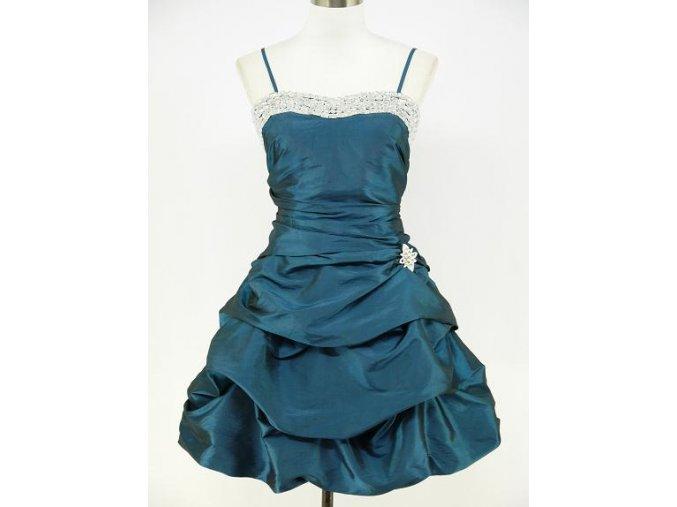 Modré krátké společenské šaty s nabíranou sukní DR0243a