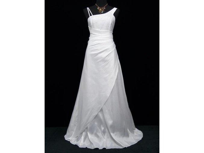 Bílé louhé svatební společenské šaty zavinovací asymetrické