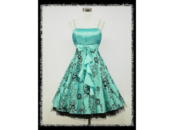 Světle modré krátké společenské šatyna ples s volánem DR0665
