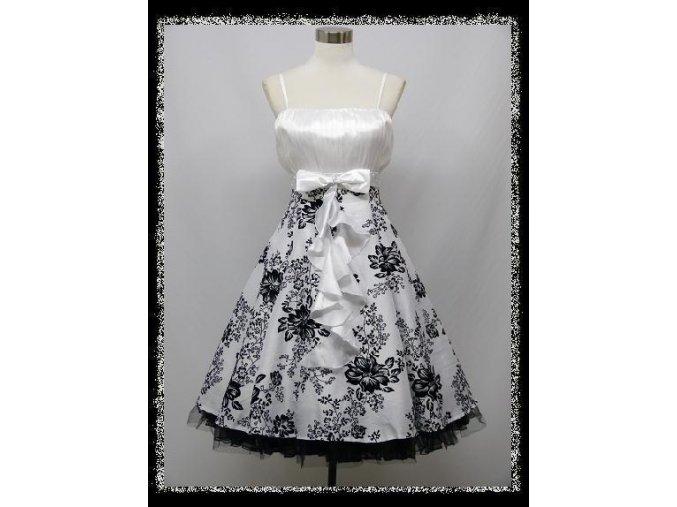 Bílé černé krátké společenské šaty na ples zeštíhlující DR1339