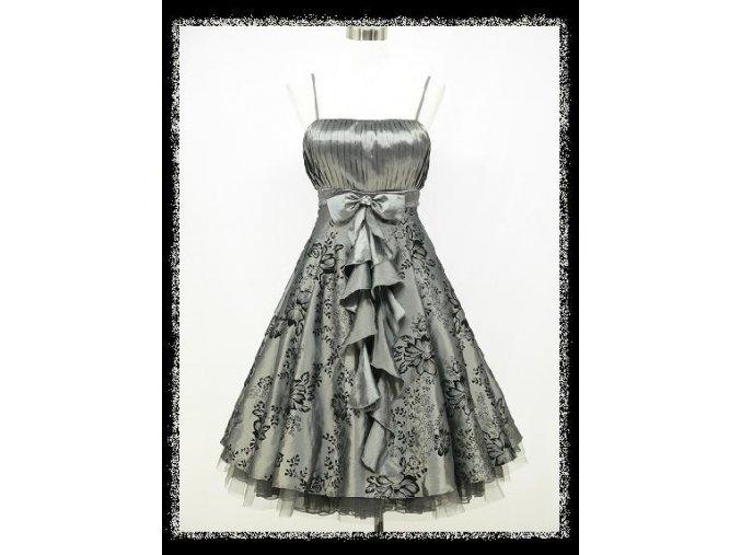 Šedé stříbrné krátké společenské šaty s volánem na ples zeštíhlující DR0740