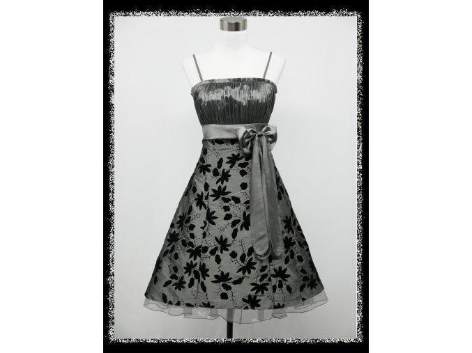 Stříbrné krátké plesové šaty retro DR0072a