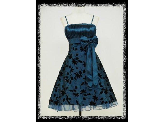 Modré černé krátké společenské retro šaty koktejlky DR0161