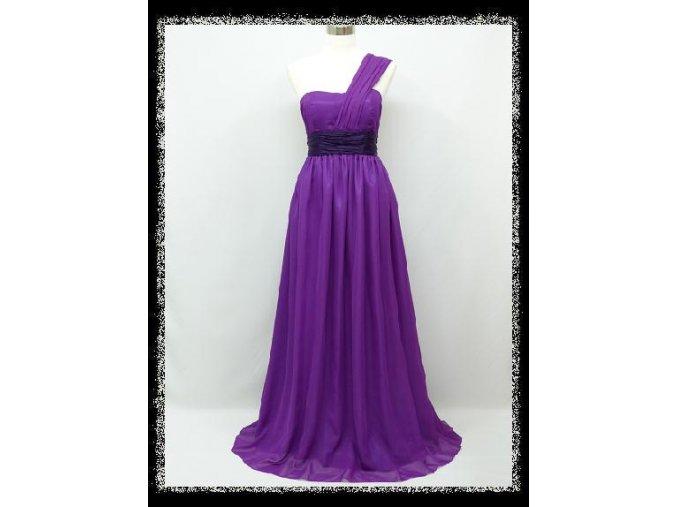 Fialové dlouhé těhotenské společenské šaty na jedno rameno DR1327