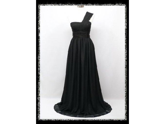 Černé dlouhé plesové šaty ne jedno rameno splývavé na večírek DR1331