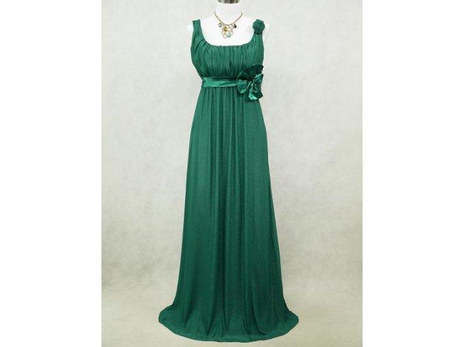 Zelené dlouhé šifonové šaty empírové i pro těhotné v nadměrné velikosti