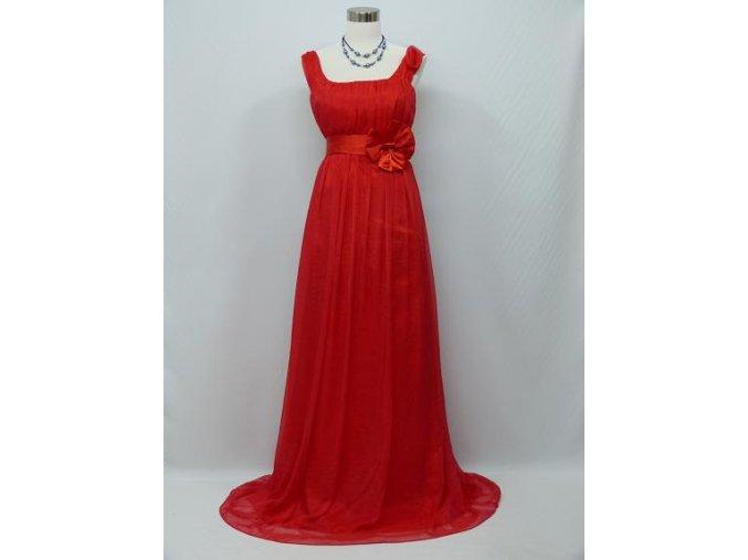 Červené společenské šaty empírového střihu vhodné i pro těhotné C0410a