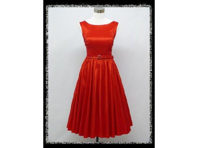 Červené klasické krátké společenské šaty koktejlky do divadla DR1289