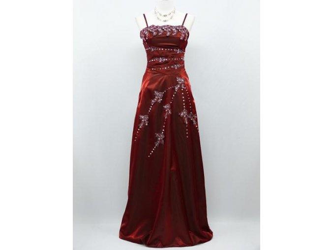 Vínové červené bordó dlouhé společenské šaty se s tříbrnou krajkou na ples B8188a