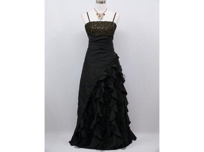 Černé dlouhé společenské šaty s volány a zlatými flitry na ples B8211a