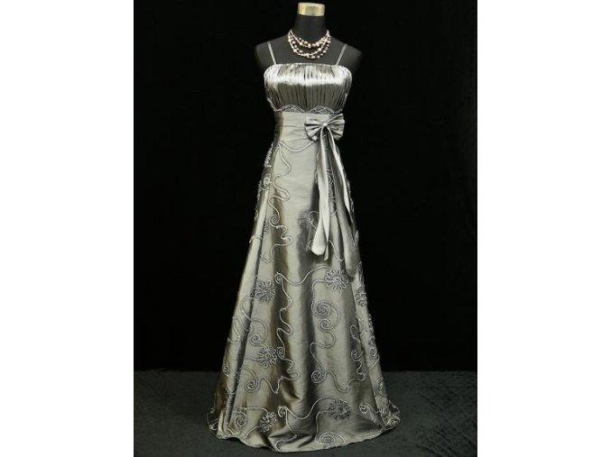 Šedé stříbrné dlouhé společenské šaty s vyšívanou sukní na ples B3982a