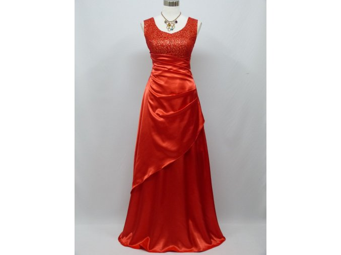 Červené rudé dlouhé společenské zeštíhlující šaty na ples s flitry c0350