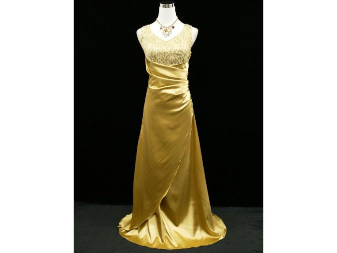 Zlaté dlouhé společenské zeštíhlující šaty na ples s flitry B2544a