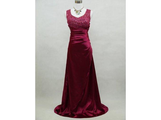 Červené vínové dlouhé společenské zeštíhlující šaty na ples s flitry B3910a
