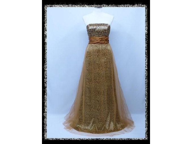 Zlaté žluté dlouhé společenské šaty s leopardím vzorem bez ramínek DR1319