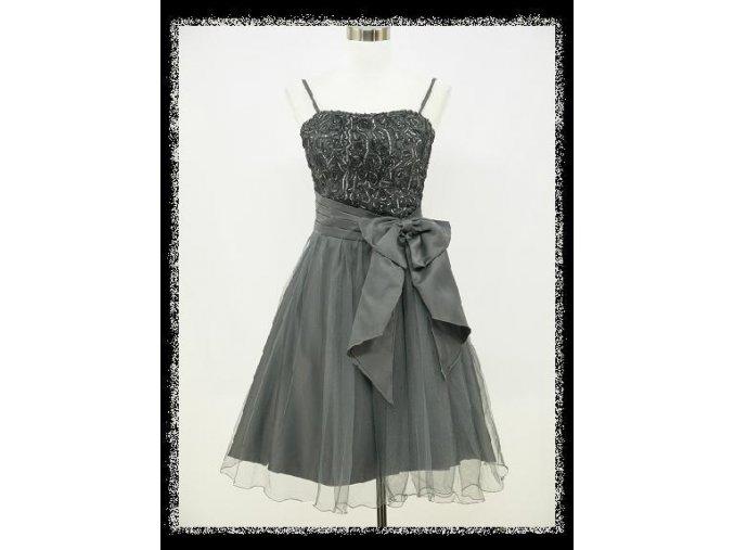 Šedé krátké společenské šaty po kolena do tanečních na večírek DR0810