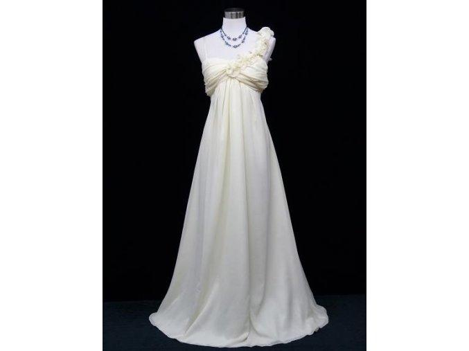 SMetanové dlouhé plesové večerní šaty empirického střihu pro těhotné či plnoštíhlé C2015a